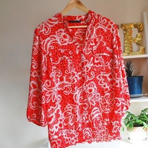 Zac and Rachel Red/Off white Floral Top